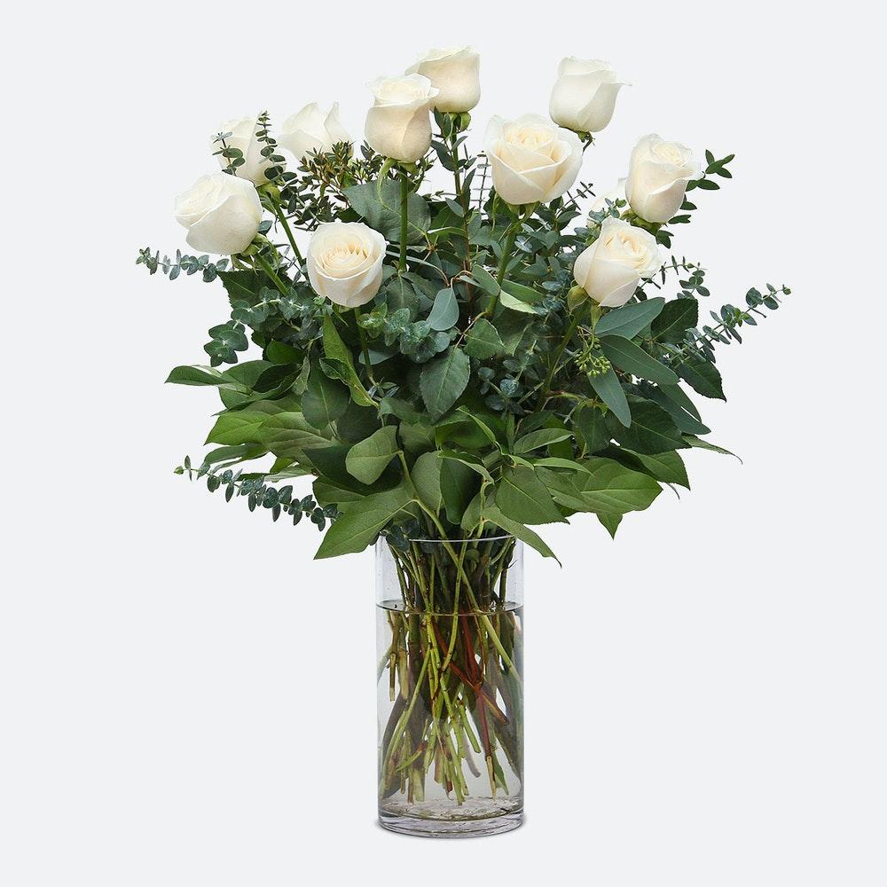 1-Dozen White Roses