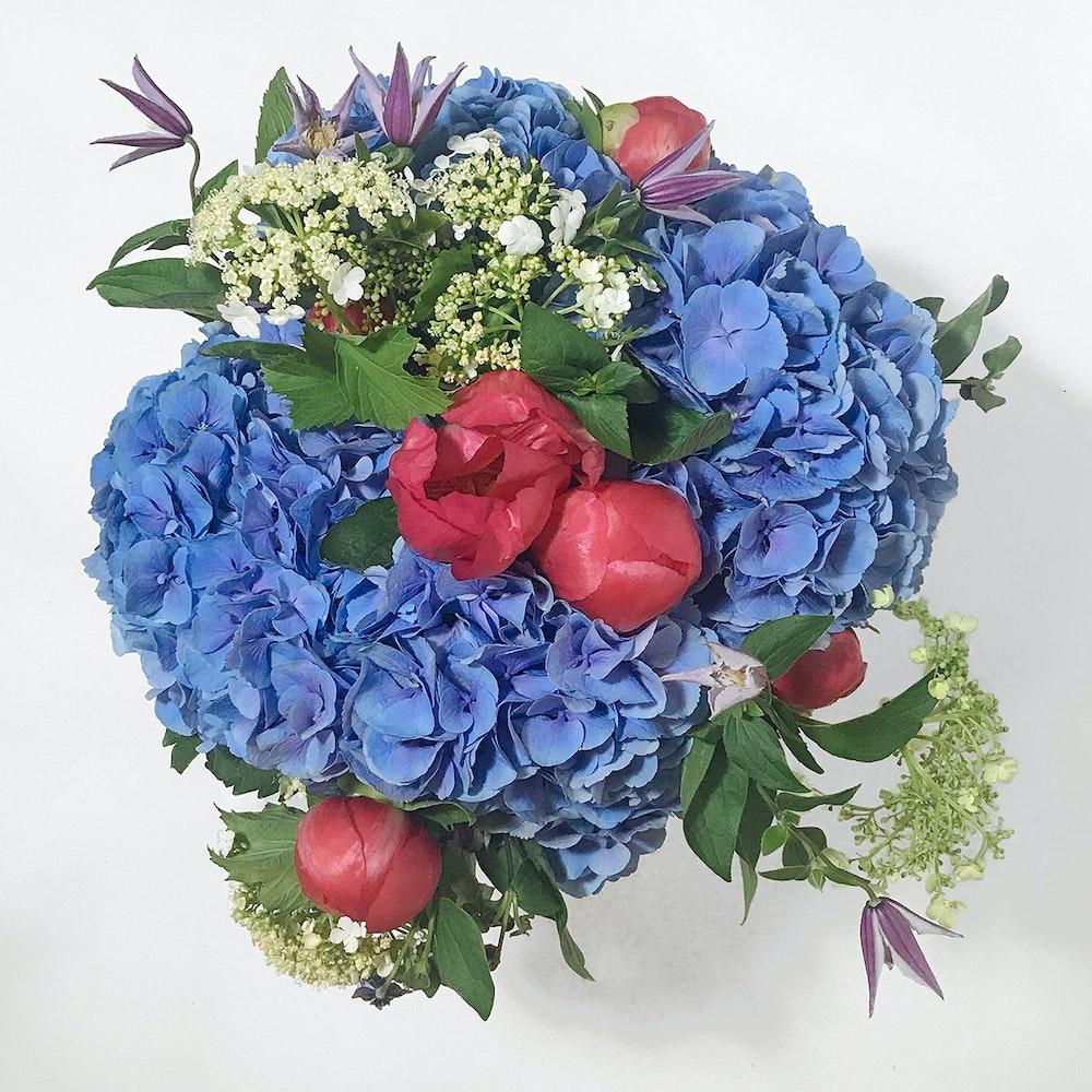 Blue water petals